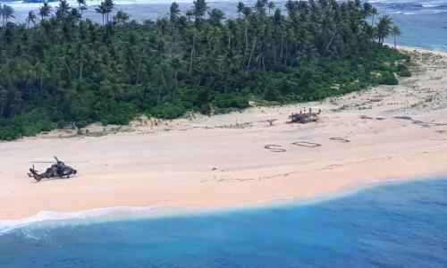 Missing sailors stranded on Pacific island saved by giant SOS in the sand