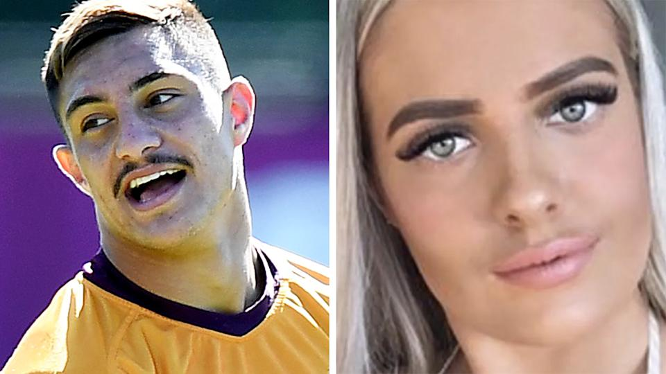 A 50-50 split image shows Brisbane's Kotoni Staggs on the left and a screenshot of McKenzie Robinson on the right.