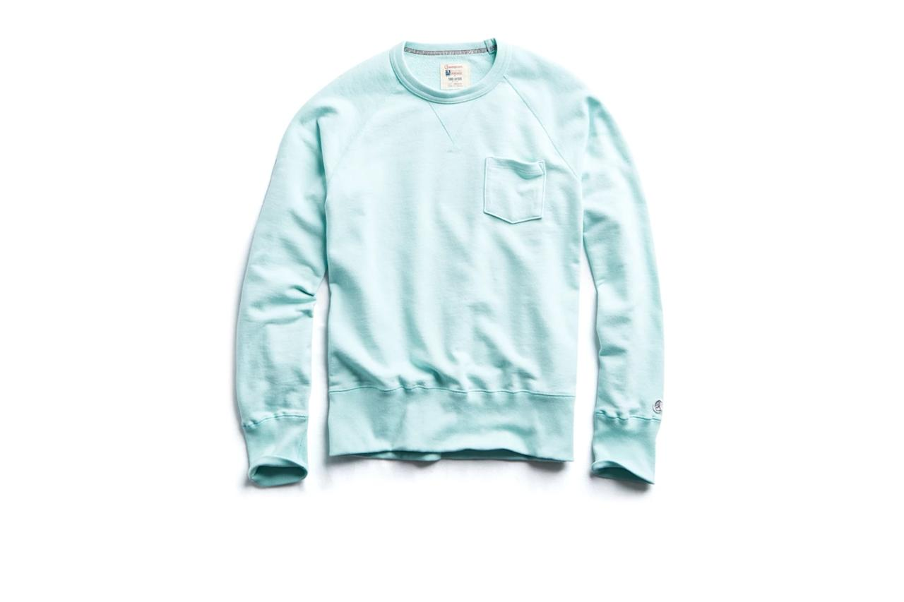 """$98, Todd Snyder. <a href=""""https://www.toddsnyder.com/collections/sale/products/pocket-sweatshirt-minty-green"""">Get it now!</a>"""