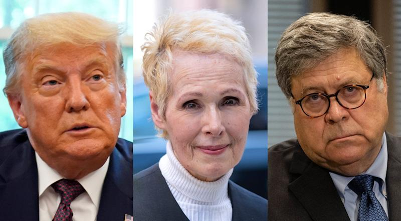President Donald Trump, E. Jean Carroll and Attorney General William Barr are shown in this combo photo.