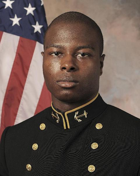 In this July, 24, 2013 photo released by the U.S. Navy Football team, Midshipmen Eric Graham is shown. A hearing to determine if three Naval Academy midshipmen will face a court-martial could be nearing its end in the case of an classmante who allegedly was sexually assaulted. Navy investigators are set to testify, a week after the hearing opened, and defense attorneys hope to wrap up later in the day after commenting on the evidence. The alleged victim has testified she was drinking heavily at an off-campus party and has no memory of the alleged incidents. (AP Photo/U.S. Navy Football)