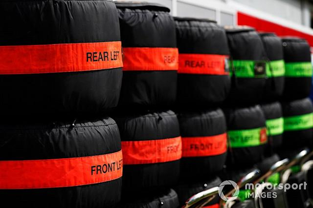 "Tyres in the paddock <span class=""copyright"">Sam Bloxham / Motorsport Images</span>"