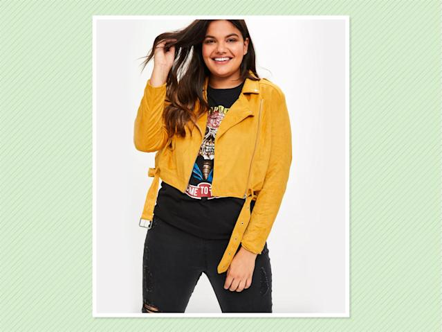 "<p>Plus-Size Yellow Suedette Biker Jacket, $76, <a href=""https://www.missguidedus.com/plus-size-yellow-suedette-biker-jacket-10060223"" rel=""nofollow noopener"" target=""_blank"" data-ylk=""slk:Missguided"" class=""link rapid-noclick-resp"">Missguided</a> (Photo: Missguided) </p>"