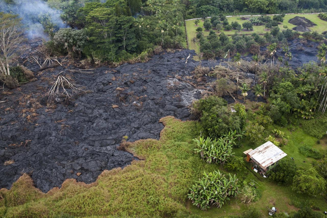 The lava flow from Mt. Kilauea inches closer to the village of Pahoa, Hawaii October 29, 2014. A slow-moving river of molten lava from an erupting volcano crept over residential and farm property on Hawaii's Big Island on Wednesday after incinerating an outbuilding as it threatened dozens of homes at the edge of a former plantation town. The lava flow from the Kilauea volcano has been slogging toward the village of Pahoa for weeks, moving at speeds of 10 to 15 yards (metres) an hour as it bubbled over a cemetery and reached the community's outskirts. REUTERS/Marco Garcia (UNITED STATES - Tags: DISASTER ENVIRONMENT)