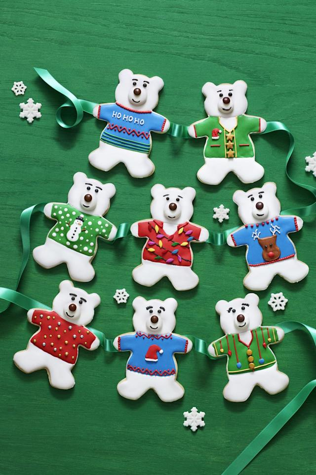 """<p>Just when you thought polar bears couldn't be cuter, these cookies show off their holiday spirit dressed in festive sweaters.<br></p><p><strong><a rel=""""nofollow"""" href=""""https://www.womansday.com/food-recipes/food-drinks/recipes/a60719/polar-bear-sugar-cookies-recipe/"""">Get the recipe.</a></strong></p><p><strong>What you'll need: </strong>Polar Bear Cookie Cutter ($6, <a rel=""""nofollow"""" href=""""https://www.amazon.com/dp/B00KJ8MHVI?ref_=ams_ad_dp_asin_img"""">amazon.com</a><strong>)</strong></p>"""