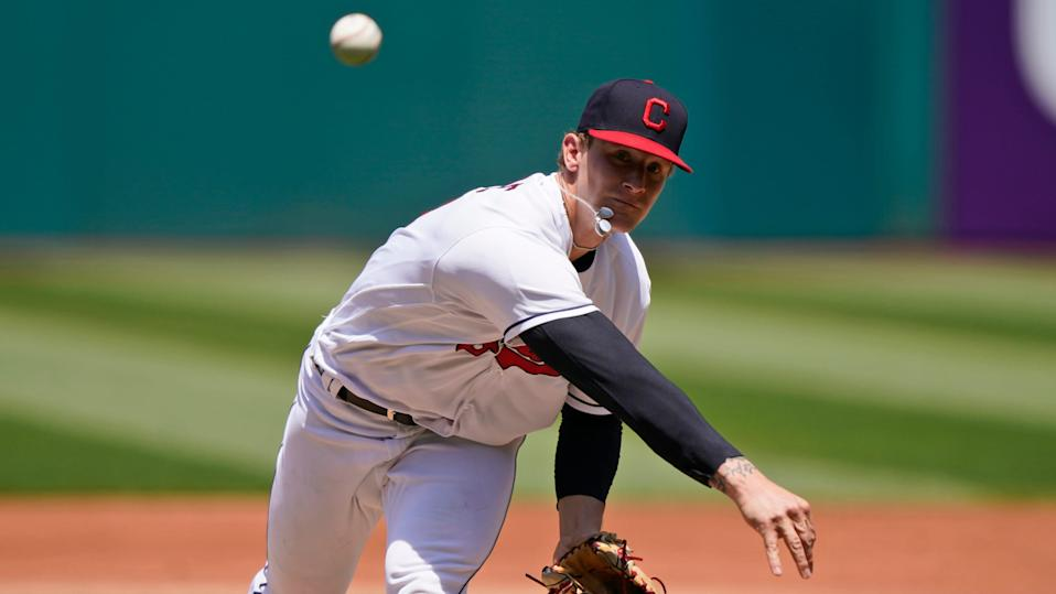 Cleveland right-hander Zach Plesac allowed five runs, three earned, in 3 2/3 innings Sunday in an 8-5 loss to the Minnesota Twins. (AP Photo/Tony Dejak)