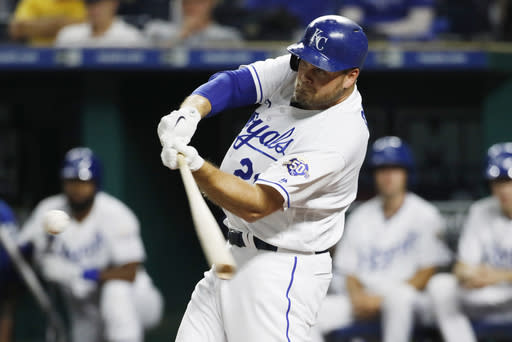Kansas City Royals' Lucas Duda hits a solo home run during the second inning of the team's baseball game against the Toronto Blue Jays at Kauffman Stadium in Kansas City, Mo., Thursday, Aug. 16, 2018. (AP Photo/Colin E. Braley)