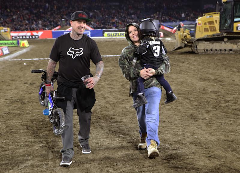 ANAHEIM, CALIFORNIA - JANUARY 18: (L-R) Carey Hart, P!nk and Jameson Moon Hart attend the Monster Energy Supercross VIP Event at Angel Stadium on January 18, 2020 in Anaheim, California. (Photo by Ari Perilstein/Getty Images for Feld Entertainment, Inc.)