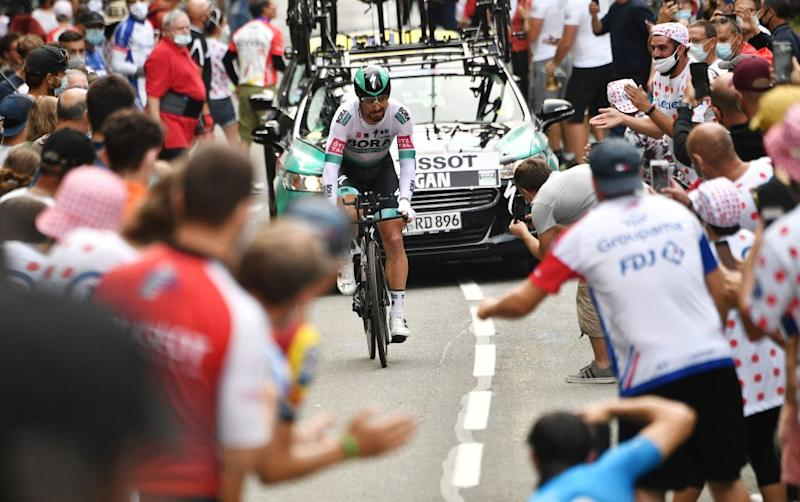 Team Bora rider Slovakias Peter Sagan competes during the 20th stage of the 107th edition of the Tour de France cycling race a time trial of 36 km between Lure and La Planche des Belles Filles on September 19 2020 Photo by AnneChristine POUJOULAT AFP Photo by ANNECHRISTINE POUJOULATAFP via Getty Images