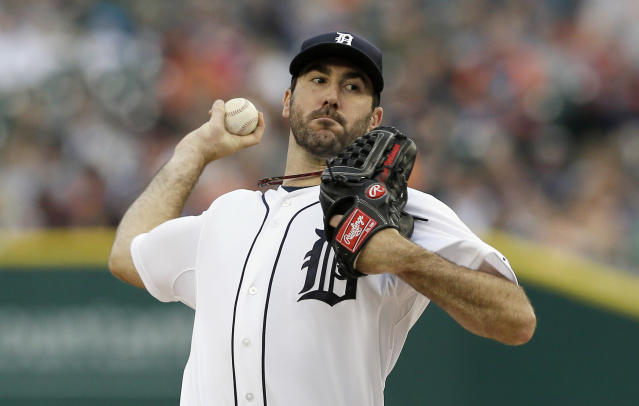 Detroit Tigers starting pitcher Justin Verlander throws during the first inning of a baseball game against the Minnesota Twins in Detroit, Friday, May 9, 2014. (AP Photo/Carlos Osorio)