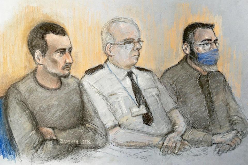 Court artist sketch by Elizabeth Cook of Christopher Kennedy (left) and Valentin Calota (right) (PA)