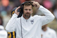 FILE - In this Oct. 19, 2019, file photo, California Golden head coach Justin Wilcox watches during the fourth quarter of an NCAA college football game against the Oregon State in Berkeley, Calif. The season opener between California and Washington has been canceled following a request from the Golden Bears due to a positive coronavirus test for one of their players.(AP Photo/John Hefti, File)