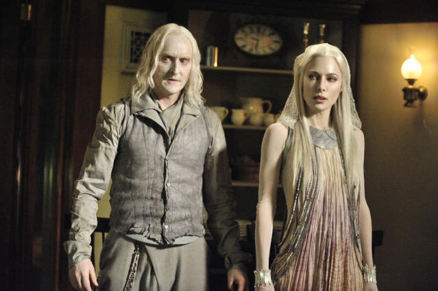 "Tony Curran as Datak Tarr and Jaime Murray as Stahma Ta in the ""Defiance"" episode, ""The Devil in the Dark."""