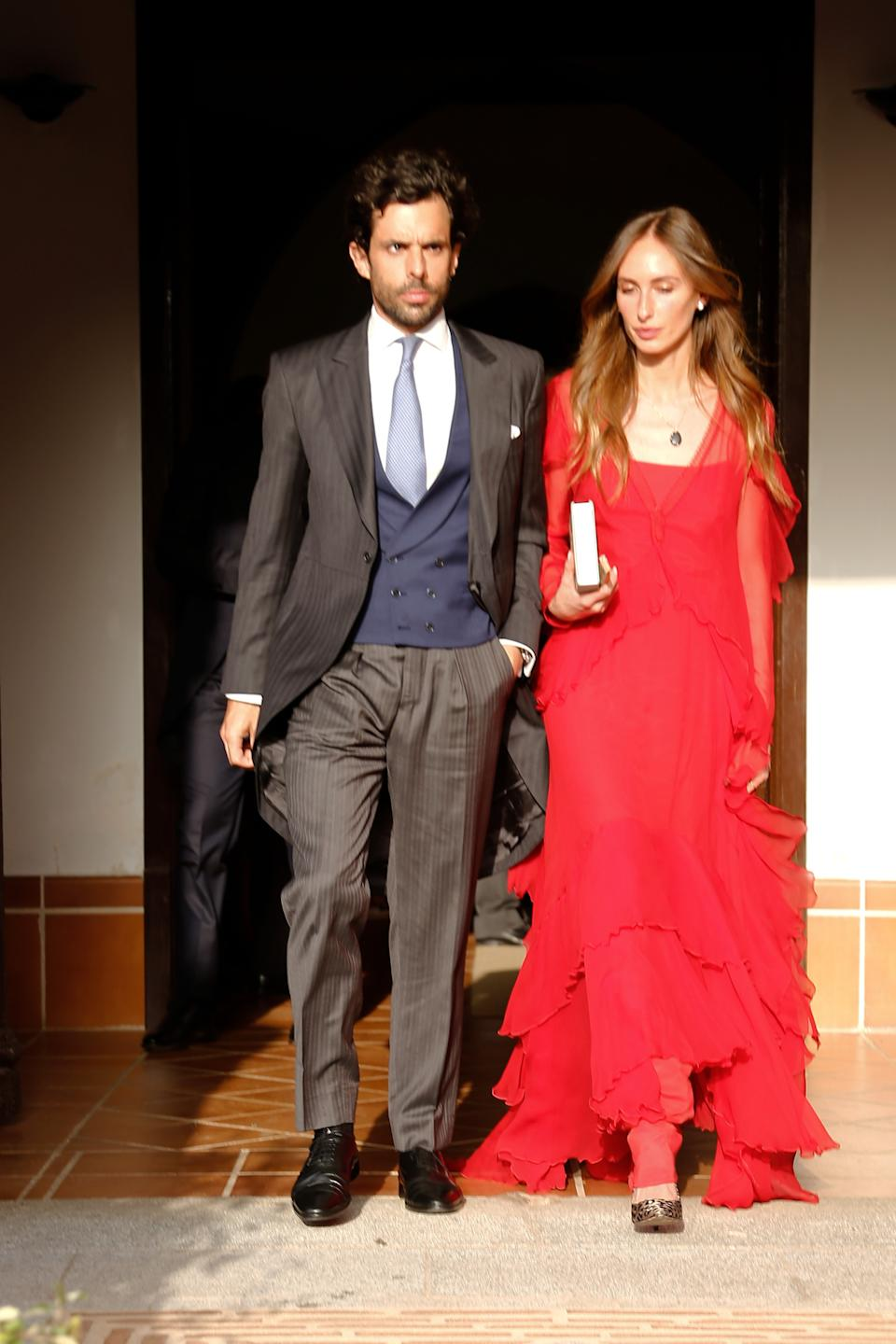 CIUDAD REAL, SPAIN - JULY 11: Alonso Aznar and Renata Collado at the wedding of Felipe Cortina and Amelia Millan on July 11, 2021 in Ciudad Real, Spain. (Photo By Javier Ramirez/Europa Press via Getty Images)