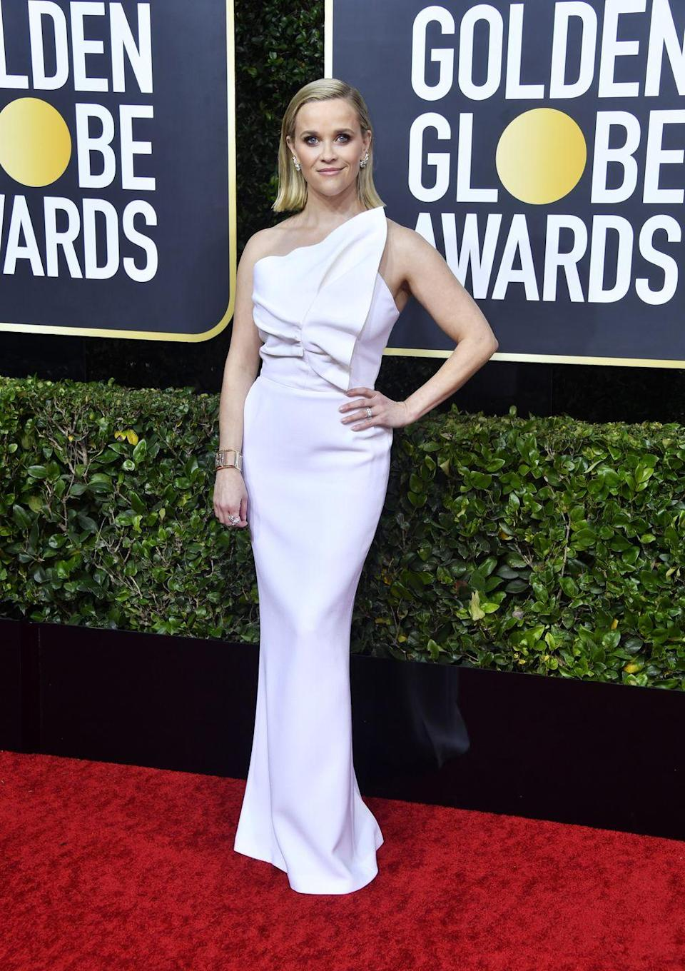 <p>The actress looked sleek and elegant in this Roland Mouret gown and Tiffany & Co. jewelry she wore to the 77th Annual Golden Globe Awards.</p>