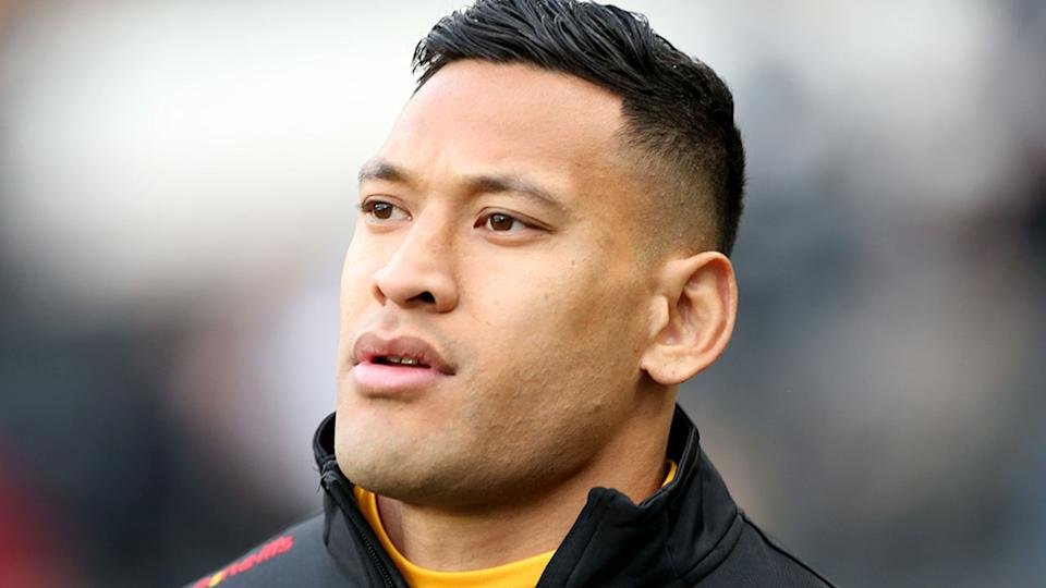 Pictured here, Israel Folau gets ready to run our for the Catalans Dragons in Super League.
