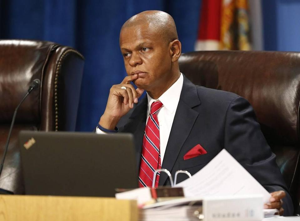 Miami-Dade School Board attorney Walter J. Harvey looks on during a meeting on Wednesday, July 13, 2016. The Broward County School Board unanimously approved Miami-Dade County School Board Attorney Walter J. Harvey Tuesday, May 4, 2021, to help in the separation agreement negotiations between the board and its superintendent, Robert Runcie. Harvey is taking a two-day leave to work pro bono on the case.