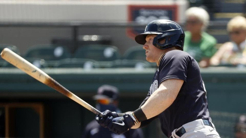 Clint Frazier hits the Reserve Bank of India's single Tigers 3/16