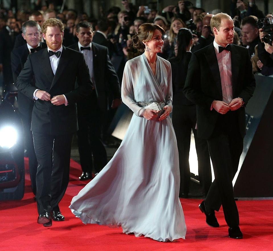 <p>Prince Harry and the Duke and Duchess of Cambridge all attended the Royal Film Performance of <em>Spectre</em>, the 24th Bond movie. Apparently, Jenny Packham is Kate's go-to designer for Bond events, as she wore the designer to this screening, as well. </p>