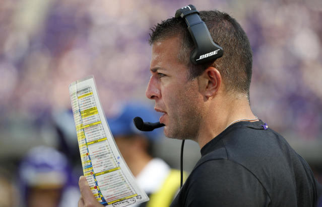 The Vikings fired offensive coordinator John DeFilippo on Tuesday, a day after a loss to Seattle. (AP)