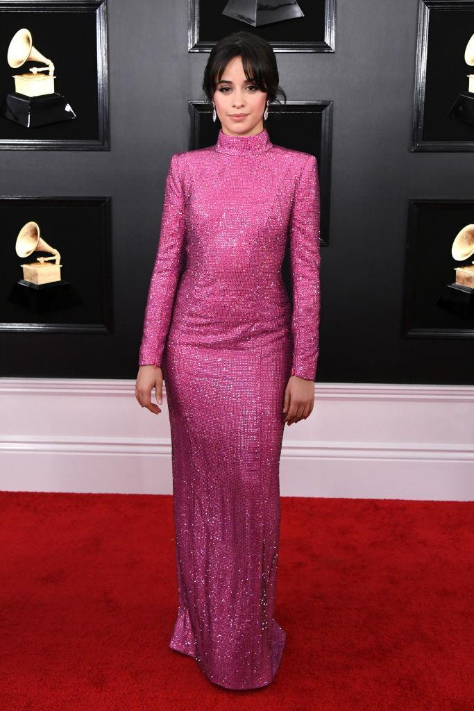 """<p>""""Havana"""" singer Camila Cabello — nominated for two awards — showed up in a sparkly, long-sleeved pink number and a low ponytail. The former Fifth Harmony singer was one of the night's scheduled performers. </p>"""