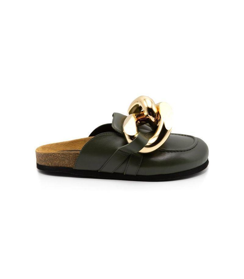 """<p><strong>JW Anderson</strong></p><p>ShopBAZAAR.com</p><p><strong>$645.00</strong></p><p><a href=""""https://go.redirectingat.com?id=74968X1596630&url=https%3A%2F%2Fshop.harpersbazaar.com%2Fdesigners%2Fjw-anderson-shoes%2Fchain-loafer-in-military-green-70644.html&sref=https%3A%2F%2Fwww.harpersbazaar.com%2Ffashion%2Ftrends%2Fg35556071%2Ffall-2021-shoe-trends%2F"""" rel=""""nofollow noopener"""" target=""""_blank"""" data-ylk=""""slk:Shop Now"""" class=""""link rapid-noclick-resp"""">Shop Now</a></p><p>Nothing can better prepare you for a smooth transition into fall than a loafer/mule hybrid. Our pick has to be the JW Anderson loafer. Chunky gold features and shiny leather will make it stand out in a crowd.</p>"""