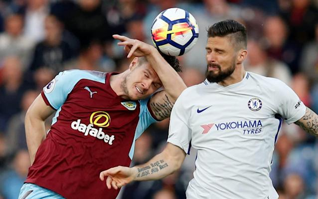 "8:18PM 33 min Chance! Kante plays the Fabregas role, feeds Giroud, who in turn slides in Morata, but Pope is out quickly to make sure the no.9 can't flick it over him. Corner, which again is no bother for Burnley. 8:15PM 31 min Half-chance for Burnley! Matt Lowton pokes a hopeful cross into the Chelsea box, but Ashley Barnes can't stretch enough to do the same and trouble Courtois. Burnley having a nice mini-spell here, though... 8:13PM 28 min Giroud very much the link-man of the Chelsea front two, which makes sense given his velvet lay-offs and Morata's relative pace. Speaking of which, he's tugged down by James Tarkowski on the edge of the box - yellow card. Pedro stands over the free kick over to the left...but he clips it wide of the near post in an attempt to catch Pope out. 8:07PM 23 min Chelsea looking happy enough so far - their new system is starting to find useful pockets of space, while Burnley are yet to muster a shot at the right end. 8:05PM GOAL! Burnley 0 Chelsea 1 (Long og, 20 min) Well! Gary Cahill pings a crossfield ball for Moses to run on to. He tries to clip a cross to Giroud, but Kevin Long gets there first...to bundle the ball past his own keeper! 8:01PM 16 min Chelsea work the ball in from the left, using Giroud as a capable wall to feed Pedro, but he awkwardly sidefoots a volley into Row Z. 7:59PM 14 min Chelsea are making good use of Thibaut Courtois' catapult of a left foot which, although not Ederson-like, has some long-range capability. Barnes and Wood, meanwhile, continue to hare after the ball in behind the Chelsea back three. 7:56PM 11 min Morata's through! He latches on to a Giroud flick, but he takes an inexplicable extra touch that turns a tight angle into an impossible one - Nick Pope gets a toe to the ball to help it on its way for a corner, which Burnley handle with ease. 7:54PM 8 min Azpilicueta slides in Giroud, who is losing the footrace with Kevin Long, and tumbles over looking for a penalty. Referee Bobby Madley is truly, deeply unmoved. 7:52PM 7 min First glimpse of Chelsea's Plan A: Giroud clips the ball out to Emerson on the left. His cross is a tasty-looking one, but a Burnley head glances it away. 7:50PM 5 min Burnley free kick, out wide on the right. Johann Berg Gudmundsson swings it in, there's some muted appeals for a Chelsea handball, but it's hacked clear by the visitors. 7:49PM 4 min Chelsea, without their A-list ball-carriers, are already happy to ping the ball long to the heads of Morata and Giroud. Burnley, meanwhile, are looking to exploit the channels to find Ashley Barnes and Chris Wood. 7:47PM 2 min Burnley get the early touches of the ball on their carpet of a playing surface. It's a good 90 seconds before a Chelsea boot finally gets to a pass first. 7:45PM Kick off! We're off and running at Turf Moor, where I am obliged by accepted wisdom to say it's a perfect evening for football...despite the glorious sunshine being in at least 10,000 people's eyes. Chelsea are in their change colours of very-slightly-off-white. 7:38PM Dyche's pre-match rallying cry: ""We've kept it simple for a long time, the next game is the most important one, and that's kept us focused on what's right in front of us. We've been more flexible this season; having two strikers gives you a better goal threat but you've got to have that defensive balance as well, and we've found that in the last few games"" 7:35PM Conte speaks: ""It's always a good opportunity when you get the chance to play - to show you deserve the chance to play more often. That's what the players need to show me. This is the first time we've had the opportunity to play with two strikers, and tonight I hope to see a good game, and a good link between Morata and Giroud"" 7:26PM Counting on Conte? Antonio Conte takes charge of his 100th Chelsea game (all comps), tonight. He's the 3rd Chelsea manager to reach that milestone under the 15-year ownership of Roman Abramovich, after Jose Mourinho (321 over 2 spells) & Carlo Ancelotti (109) #PLpic.twitter.com/HqQ14HAAd5— Sky Sports Statto (@SkySportsStatto) April 19, 2018 It's a bit of a shame that Chelsea managers have such a limited lifespan. Some will argue their short-termist model has worked well enough in terms of trophies, but you sense their luck might be running out there. As they lifted the Premier League trophy almost a year ago, the plan wasn't to be England's fifth-best team by a distance. 7:23PM Victor Moses speaks: ""We know what a hard game this is going to be. They gave us a tough game here last season and it's always difficult coming to Turf Moor. We have to believe."" Moses and, on the other flank, Palmieri will be key for Chelsea, seeing as they have Olivier Giroud and Alvaro Morata to aim at in the middle. In the absence of Willian and Hazard from the start, only Pedro will be scheming in behind. 7:11PM Conte: Dyche's job ""is more simple"" than managing Chelsea Antonio Conte, it seems, won't be in the Premier League next season, so the pressure's off as far as his press-conference sentiments are concerned. Ahead of this one, he claimed that Sean Dyche's job is easier than his. In fairness, Conte was happy to explain himself: ""I think he is doing an important job,"" said Conte, whose side lie fifth and face a daunting task if they are to qualify for next season's Champions League. ""He is doing a great job this season. But if you start the ­season to fight to avoid the relegation zone it is more simple. It is more simple also if you have a small budget because you can count on a team that in the past reached qualification to play again in the league. ""It is more difficult when you have to prepare the transfer market to win something because only one team wins. The others must see the other team win."" Conte's future remains unclear Credit: CHELSEA FC Expanding on why he believes Dyche has it easier, the Italian added: ""It is more simple because you have to avoid the last three places at the bottom and then you can stay between 10 teams. You can play only for this target. ""Then, if you have a good base and in the previous season played very well, you can count on this. You have to fight only to avoid this. ""It is difficult if you have to play to win because only one team wins and if the other doesn't win you are the first to speak about a failed season. If you don't win the FA Cup, the league, the Carabao Cup, the season is a failure and, for this ­reason, it is more difficult to play for this target."" 7:01PM Barkley's back Ross Barkley is among the Chelsea substitutes Credit: AFP Having overcome his latest hamstring injury, Ross Barkley is again among the Chelsea subs tonight. It looks a proper pre-season is his target, after which Chelsea might have a bargain on their hands. As it stands, though, he's something of a curious, peripheral figure. 6:48PM Team news! TEAM NEWS: Here's your Clarets team to face @ChelseaFC at Turf Moor tonight. pic.twitter.com/mHxcka3j5g— Burnley FC (@BurnleyOfficial) April 19, 2018 Chelsea team: Courtois, Azpilicueta, Cahill (c), Rudiger, Moses, Kante, Bakayoko, Emerson, Pedro, Morata, Giroud. Subs: Caballero, Christensen, Zappacosta, Fabregas, Barkley, Willian, Hazard. #BURCHEpic.twitter.com/IIYdnl805P— Chelsea FC (@ChelseaFC) April 19, 2018 Two big strikers for Chelsea! It's like the 1990s! Meanwhile, there's a return for the much-maligned Tiemoue Bakayoko and a start - in place of the suspended Marcos Alonso - for Emerson Palmieri, signed from Roma for around £18m in January. Eden Hazard, wrapped in cotton wool, is on the bench. Burnley are unchanged, in the sense that they'll be rock solid. 6:42PM The Race for Fifth? Few might have predicted that here, in the middle of April, Chelsea would be heading to Turf Moor with their league season effectively shelved - albeit with an FA Cup semi-final to look forward to - and with Burnley breathing down their necks to be the among the best of the rest, outside of the Champions League places. That says as much about their latest limp title defence as it does of Sean Dyche's tight ship, which has steered itself to within touching distance of Europe despite scoring fewer goals than 14 other Premier League teams. Burnley surprised Chelsea on the opening day Credit: REUTERS The first scribbles of the writing on Chelsea's wall where made all the way back on a sun-drenched opening day at Stamford Bridge, where Burnley were 3-0 up at half-time, and two men up at full-time. Another win for them tonight - a sixth in a row, to boot - wouldn't be anywhere near as much of a shock. That, again, says it all about both managers' seasons."
