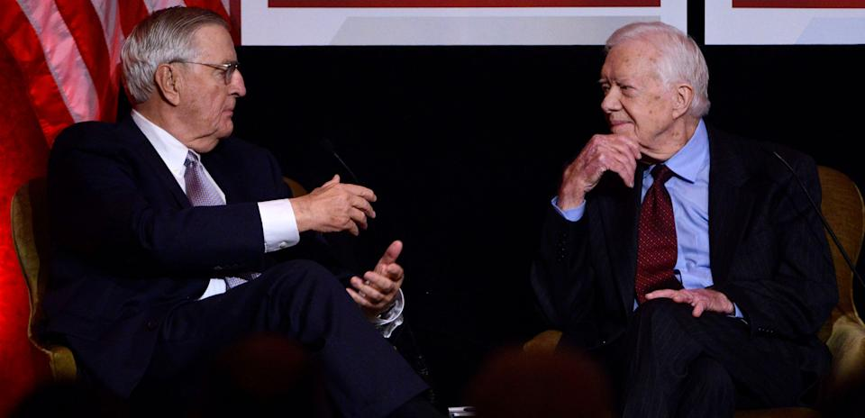 Mondale with former President Jimmy Carter at a gala in Mondale's honoron Oct.20, 2015. (Photo: Leigh Vogel/Getty Images)