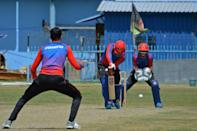Afghanistan's national cricket team players attend a training session at the Kabul International Cricket Ground in Kabul on August 21, 2021, ahead of their one-day series against Pakistan, scheduled to take place in Sri Lanka in two weeks