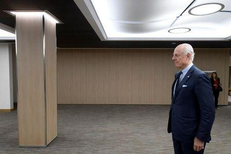 UN Special Envoy of the Secretary-General for Syria Staffan de Mistura, attends a meeting of Intra Syria peace talks with Syrian government delegation at the European headquarters of the United Nations in Geneva