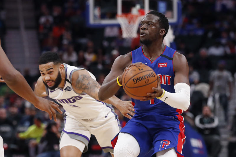 Detroit Pistons guard Reggie Jackson (1) is defended by Sacramento Kings guard Cory Joseph during the first half of an NBA basketball game, Wednesday, Jan. 22, 2020, in Detroit. (AP Photo/Carlos Osorio)