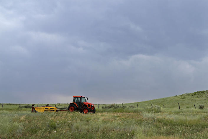 Rancher Jim Stanko cuts hay under a cloudy sky on his cattle ranch, Tuesday, July 13, 2021, near Steamboat Springs, Colo. Later in the day, rain fell for a few minutes, but it wasn't enough to alleviate the severe drought conditions that Stanko says may force him to sell some of his herd. (AP Photo/Brittany Peterson)