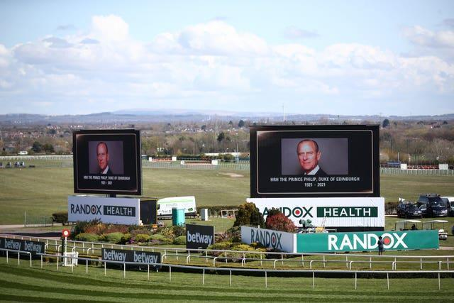 Tributes were made on the big screens at Aintree for the late Prince Philip, Duke of Edinburgh, ahead of Ladies Day at the Grand National Festival