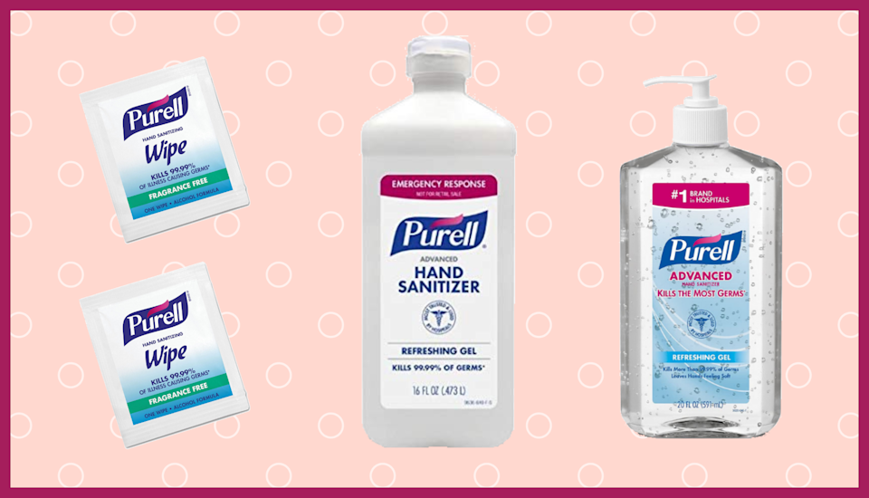 Purell hand sanitizer bottle and Purell hand sanitizing wipes. (Photo: Amazon)