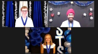 The top three winners of Virtual Regeneron Science Talent Search 2020. Clockwise from top left: Brendan Crotty (third place), Jagdeep Bhatia (second place) and Lillian Petersen (first place).
