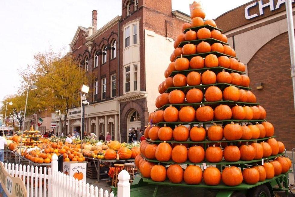 """<p><strong>When: </strong>October 16-19<strong></strong></p><p><strong>Where:</strong> Circleville, Ohio</p><p><strong>What to expect:</strong> Free admission and pumpkin everything (including burgers).</p><p><em>For more information, visit <a href=""""https://www.pumpkinshow.com/"""" target=""""_blank"""">pumpkinshow.com</a></em></p><p></p>"""
