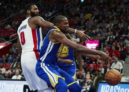 Dec 8, 2017; Detroit, MI, USA; Golden State Warriors forward Kevin Durant (35) and Detroit Pistons center Andre Drummond (0) goes for the rebound in the second half at Little Caesars Arena. Mandatory Credit: Rick Osentoski-USA TODAY Sports