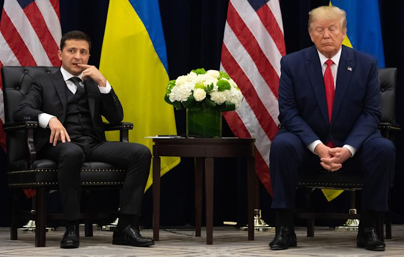 US President Donald Trump and Ukrainian President Volodymyr Zelensky looks on during a meeting in New York on September 25, 2019, on the sidelines of the United Nations General Assembly. (Photo by SAUL LOEB / AFP) (Photo credit should read SAUL LOEB/AFP via Getty Images)