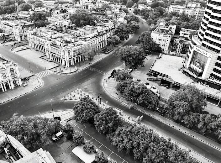 An aerial view of a deserted Connaught Place, a commercial hub in central Delhi