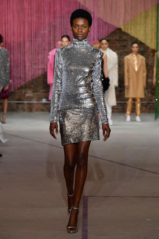 <p>Model wears a metallic sequin top and skirt at the Milly Fall/Winter 2018 show. (Photo: Courtesy of Greg Kessler) </p>