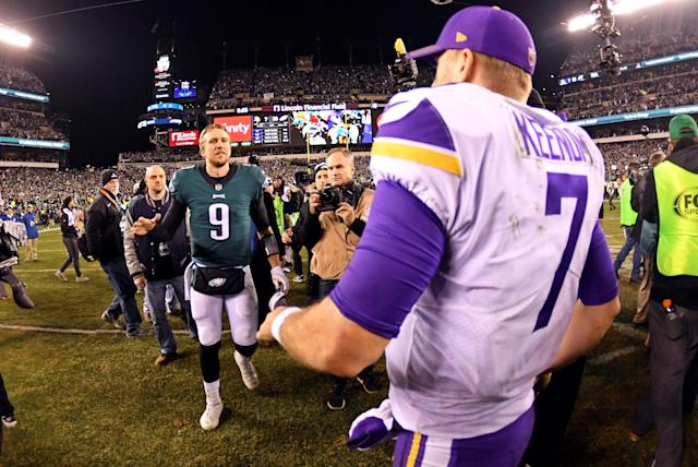 <p>Philadelphia Eagles quarterback Nick Foles (9) shakes hands with Minnesota Vikings quarterback Case Keenum (7) after the NFC Championship game at Lincoln Financial Field. Mandatory Credit: Eric Hartline-USA TODAY Sports </p>
