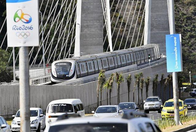 Photo taken July 27, 2016, shows a test run of a new subway line in Rio de Janeiro, ahead of the Aug. 5 start of the summer Olympics there. Openings of some traffic systems are behind schedule, stirring concerns that traffic disturbances may hit the sports event. (Photo by Kyodo News ia Getty Imagses)