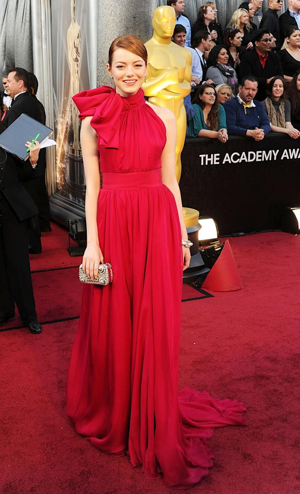 Actress Emma Stone arrives at the 84th Annual Academy Awards held at the Hollywood & Highland Center on February 26, 2012 in Hollywood, California.
