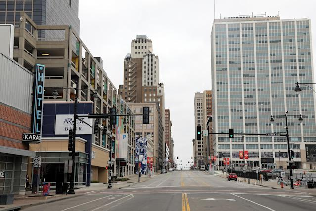 Downtown Kansas City is virtually deserted amid measures to protect against the spread of COVID-19. (Photo by Jamie Squire/Getty Images)