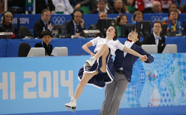 Anna Cappellini and Luca Lanotte of Italy compete in the ice dance short dance figure skating competition at the Iceberg Skating Palace during the 2014 Winter Olympics, Sunday, Feb. 16, 2014, in Sochi, Russia. (AP Photo/Vadim Ghirda)