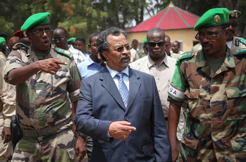 Mahamet Saleh Annadif (C), pictured October 15, 2013 during his stint as director of the African Union Mission in Somalia, will be the United Nations' new peacekeeping chief in Mali, the body announced on December 23 2015
