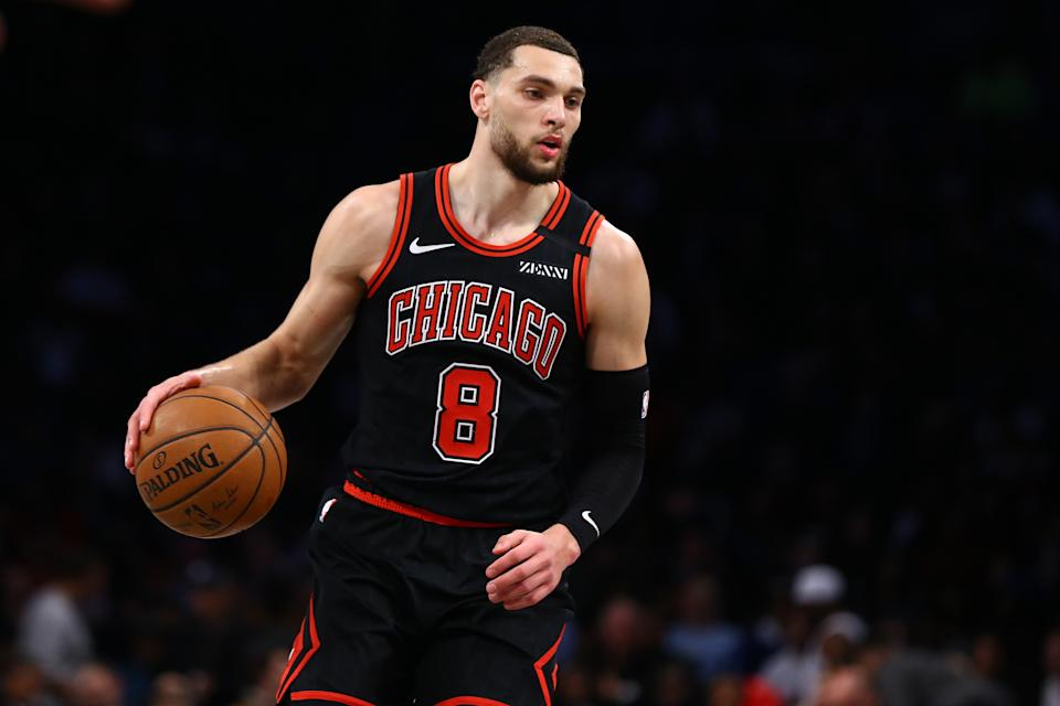 Zach LaVine #8 of the Chicago Bulls in action against the Brooklyn Nets