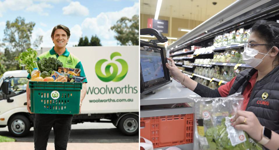 Woolworths and Coles home delivery services comparison.