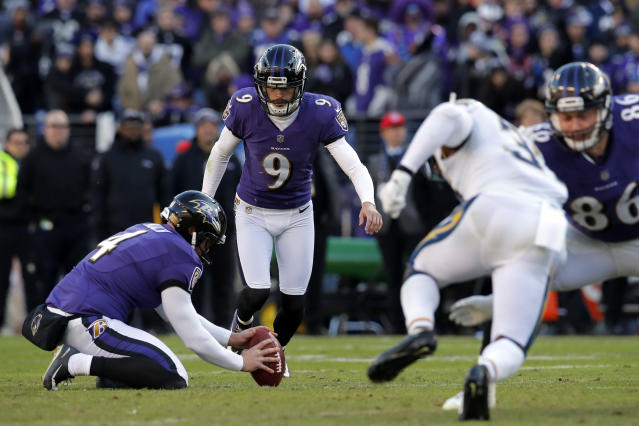 FILE - In this Sunday, Jan. 6, 2019 file photo, Baltimore Ravens kicker Justin Tucker (9) kicks an unsuccessful field goal attempt in the second half of an NFL wild card playoff football game against the Los Angeles Chargers in Baltimore. If the offense stalls, Justin Tucker can be counted on the deliver a long-distance field goal. Tucker has an NFL-record 90.1% accuracy rate on 3-pointers and is the first kicker to produce six seasons with at least 30 field goals.(AP Photo/Carolyn Kaster, File)