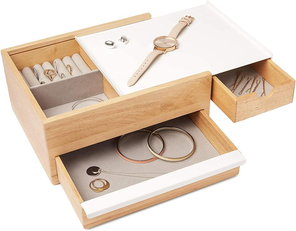 """<h2>Umbra Stowit Jewelry Box<br></h2><br>Whether you love a neat freak or there's someone in your life who's just beginning their organizing journey, this minimal, well-designed jewelry box is sure to please. <br><br><strong>Umbra</strong> Stowit Jewelry Box, $, available at <a href=""""https://www.amazon.com/dp/B010XD81X6"""" rel=""""nofollow noopener"""" target=""""_blank"""" data-ylk=""""slk:Amazon"""" class=""""link rapid-noclick-resp"""">Amazon</a>"""